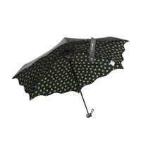 Składana na 5 płaska parasolka damska Perletti, czarno-zielona