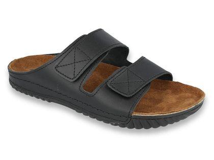 Inblu - Obuwie buty męskie klapki skórzane czarne 46
