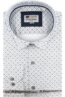 Koszula Męska Redpolo biała we wzorki na długi rękaw w kroju SLIM FIT A413 XL 44 182/188