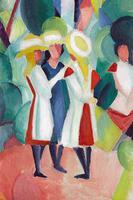 Reprodukcje obrazów Three girls in yellow straw hats I - August Macke Rozmiar - 60x40