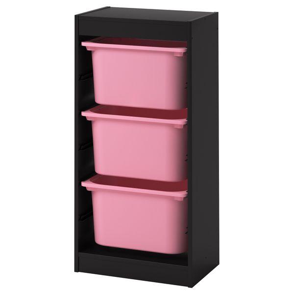 Ikea Trofast Regał Na Zabawki 3 Pojemniki Czarnyróżowy