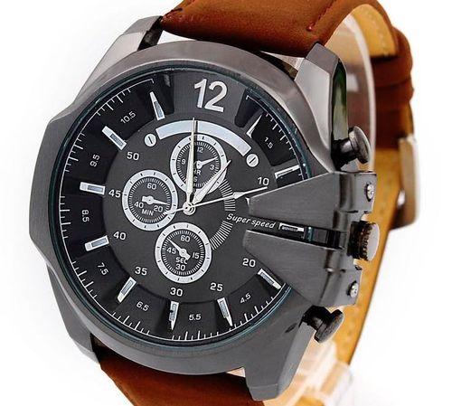 Zegarek męski V6, duży, skórzany pasek, kolor czarno-brązowy - NOWY na Arena.pl