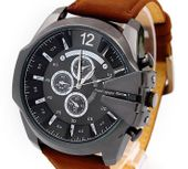 Zegarek męski V6, duży, skórzany pasek, kolor czarno-brązowy - NOWY