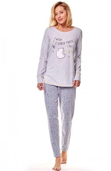 ca02960e HENDERSON piżama XL 42 bluza długie spodnie bawełna szara z nadrukiem