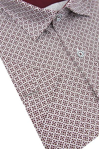 Koszula Męska Bassi bordowa we wzorki SLIM FIT na krótki  oOqTw