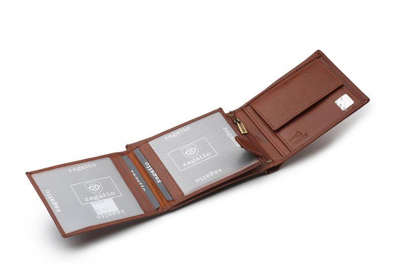 b2c17110760d43 Portfel skórzany męski Zagatto z ochroną kart RFID BLOCK N992L GT zdjęcie 2