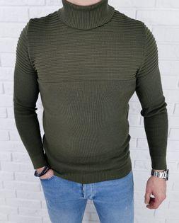 Sweter golf męski khaki 3513 - XL