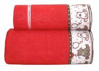 Ręcznik dla dzieci Sweet Bear 70x125 Czerwony Gren