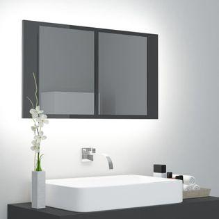 Lumarko Szafka łazienkowa z lustrem i LED, połysk, szara, 80x12x45 cm!