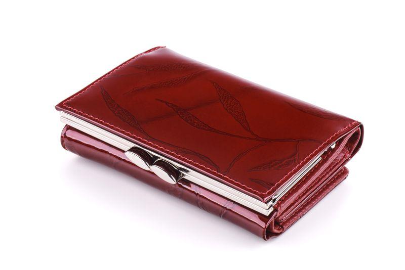 Mały portfel skórzany damski Zagatto czerwony liście RFID ZG-117 Leaf zdjęcie 7