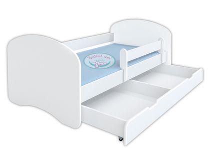 Łóżko dziecięce HAPPY 180x90 z szufladą i materacem – białe