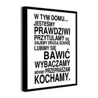 Obraz na płótnie z napisami ZASADY DOMU REGUŁY cytaty 40x60cm
