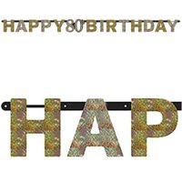 BANER urodzinowy 80 URODZINY happy BIRTHDAY złoty