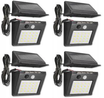 4x Lampa Solarna LED czujnik ruch zmierzch przewód