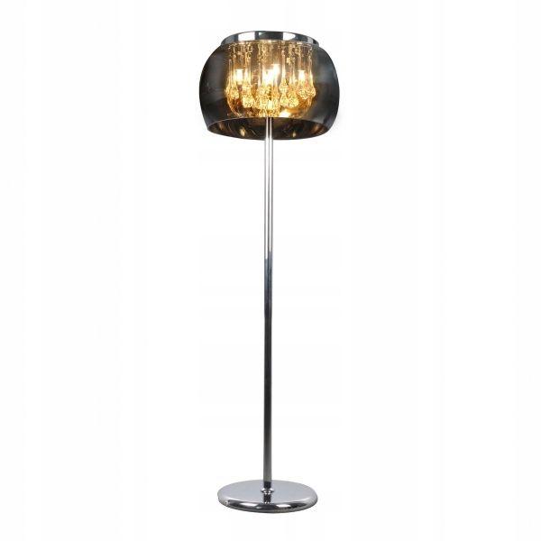 Lampa Podłogowa Szklana Kryształ Nowoczesna 6x G9 Salon Metal