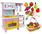 Drewniana Kuchnia Dla Dzieci Garnki Akcesoria Owoce Magnetyczne U47Z