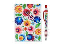 Zestaw notes + czerwony długopis folk - wzory łowickie