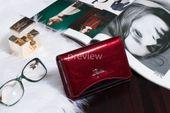 Mały portfel skórzany damski Zagatto czerwony liście RFID ZG-445 Leaf zdjęcie 2