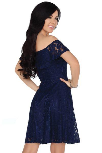 Elegancka Sukienka rozkloszowana koronkowa Midi na imprezę szykowna M zdjęcie 4