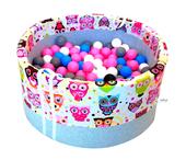 Bezpieczny suchy basen dla dzieci na 150 piłeczek - różowe sowy