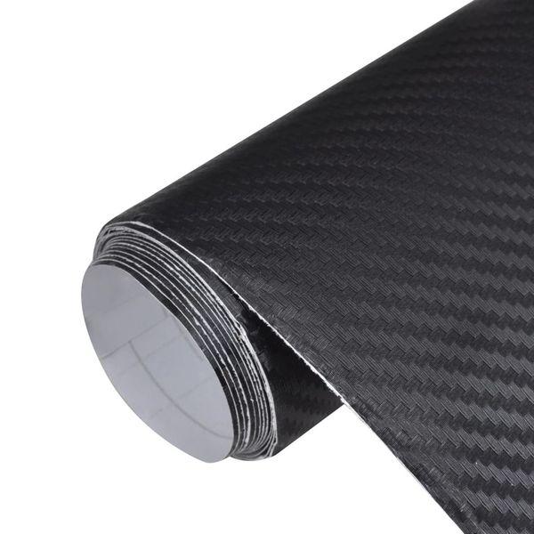 Naklejka samochodowa winyl/carbon 3D Czarna 152 x 200 cm zdjęcie 1