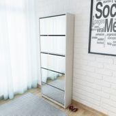 Szafka na buty z 5 półkami, lustrzana, biała, 63x17x169,5 cm