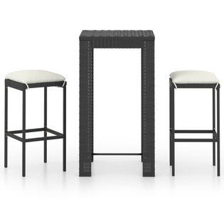 Lumarko 3-cz. zestaw mebli barowych z poduszkami, rattan PE, czarny;