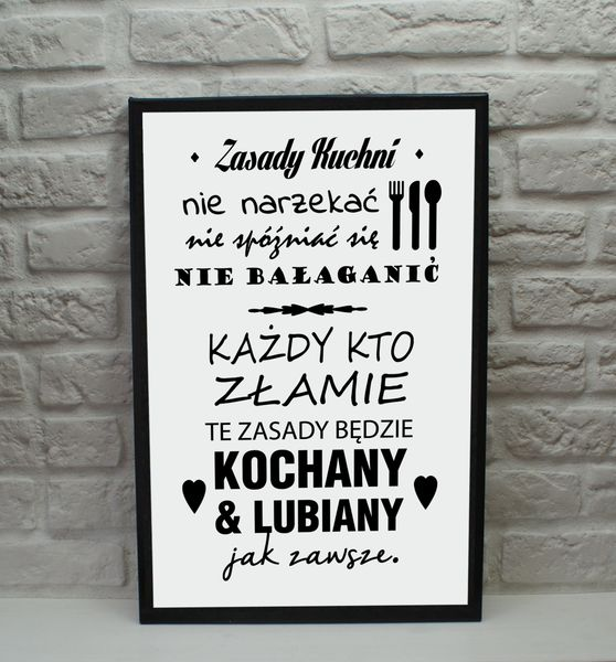 Obraz Na Płótnie Obrazki Z Napisami Do Kuchni Zasady Kuchni 40x60cm