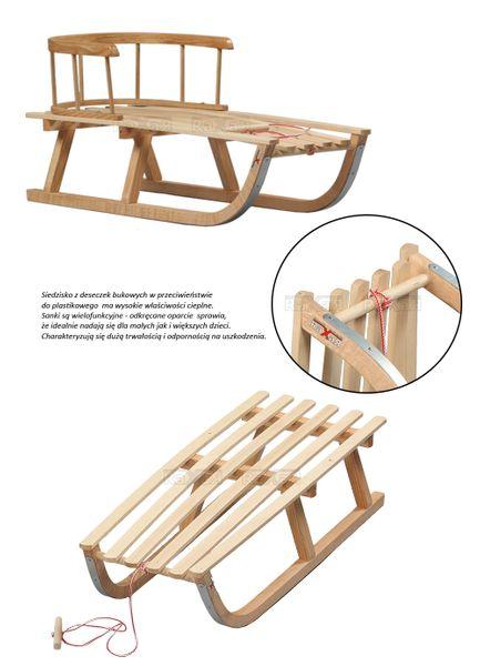 SANKI drewniane dla dzieci z materacykiem i popychaczem zdjęcie 8