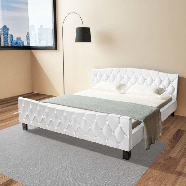łóżko Podwójne Rama łóżka Z Materacem Memory 180x200 Białe