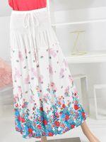Długa spódnica ściągacz biała różowa Rozmiar - Xl