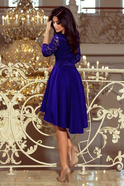 a8900d2f98 210-4 NICOLLE - sukienka z dłuższym tyłem z koronkowym dekoltem - CHABROWA  zdjęcie 2