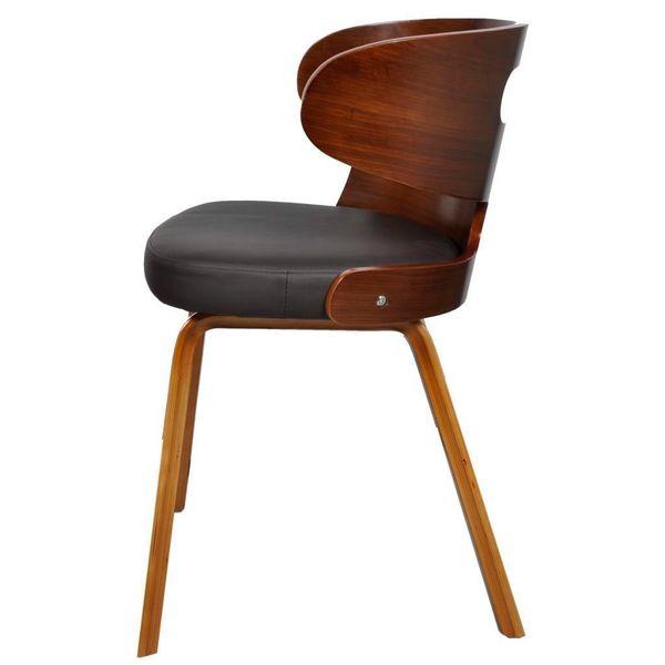 Krzesło Krzesła Do Jadalni Drewniane Tapicerowane Skórą 6 Sztuk Brązowe