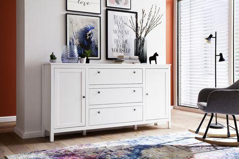 OLE biała komoda matowa 2 drzwi, 3 szuflady- styl skandynawski