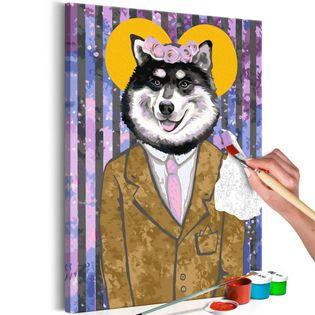 Obraz do samodzielnego malowania - Pies w garniturze