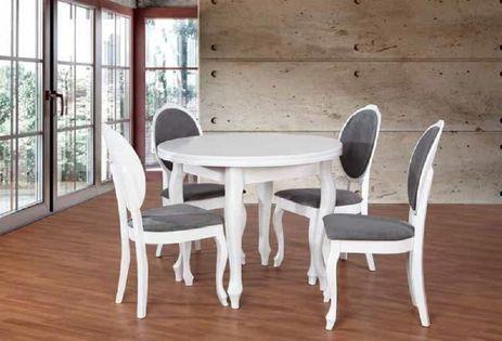 Biały  okrągły stół fI 100x40 i 4 krzesła JULIA NOWY 2 lata GW.