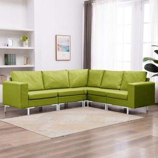 VidaXL 5-częściowy zestaw wypoczynkowy, tapicerowany tkaniną, zielony