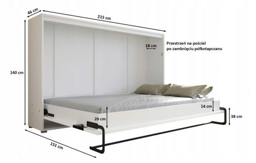 Półkotapczan HOME 120cm poziomy, łóżko w szafie na Arena.pl