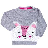 PEPCO Sweter dziewczynka wzór kółka królik haftowany rozmiar 74 cm 6-9 miesięcy szary melanż