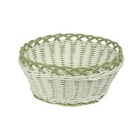 Koszyk pleciony z tworzywa okrągły biało-zielony