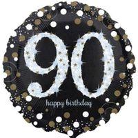 Balon foliowy 90 URODZINY liczba cyfra złoto srebr