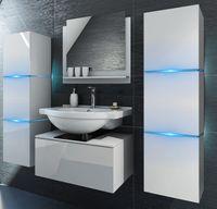 Zestaw łazienkowy szafki meble biały połysk led