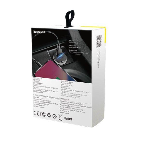 Baseus Square - Ładowarka samochodowa USB-A QC 4.0 + USB-C PD 3.0 30 W (czarny) zdjęcie 5