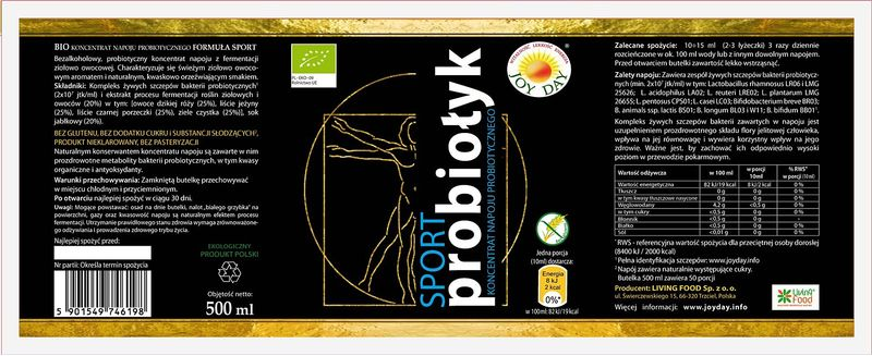 PROBIOTYK JOY DAY 500ml KONCENTRAT EKO BIO SPORT Probiołyk na Arena.pl