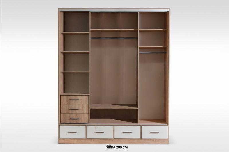 szafa przesuwna 250cm biała garderoba lustro połysk półki szuflady zdjęcie 4