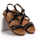 Czarne Sandały Z Kryształkami r.38 zdjęcie 3