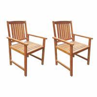Krzesła ogrodowe, 2 szt., lite drewno akacjowe, kolor brązowy