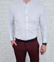 Biała męska koszula ze stójką we wzory imaginazzi 1614 - L