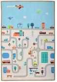 Humbi Dwustronna edukacyjna mata piankowa Uliczki Zwierzęta 180 x 120 x 2 cm pastelowa gruba