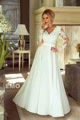 Zjawiskowa długa biała suknia sukienka koronkowa ślub wesele zdjęcie 2